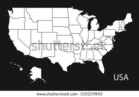 USA Map Federal States Black White Stock Vector (Royalty Free ...
