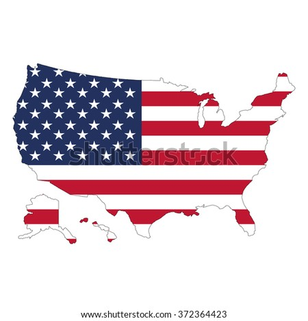 USA Map Flag Against White Background Stock Vector (Royalty Free ...