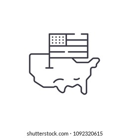 USA Map and flag linear icon concept. USA Map and flag line vector sign, symbol, illustration.