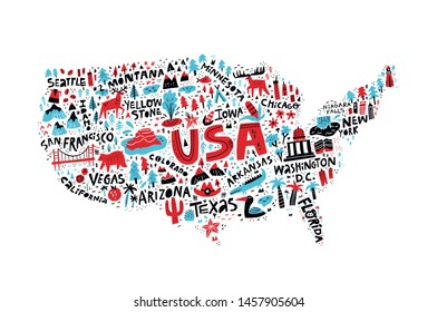USA map flat hand drawn vector illustration. American states names lettering and cartoon landmarks, tourist attractions cliparts. US travel, trip comic infographic poster, banner concept design
