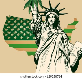 Usa map as green flag with cannabis leaf. Statue of Librety vector image.