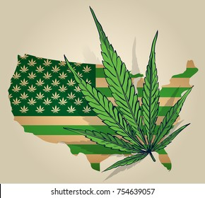Usa map as green flag with cannabis leaf.
