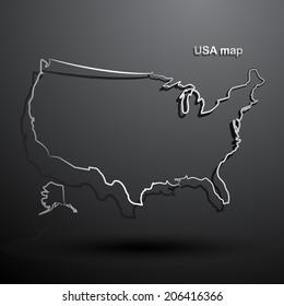 USA map hand drawn background vector,illustration