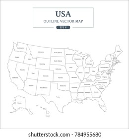 USA Map High Detail Separated all states Vector Illustration