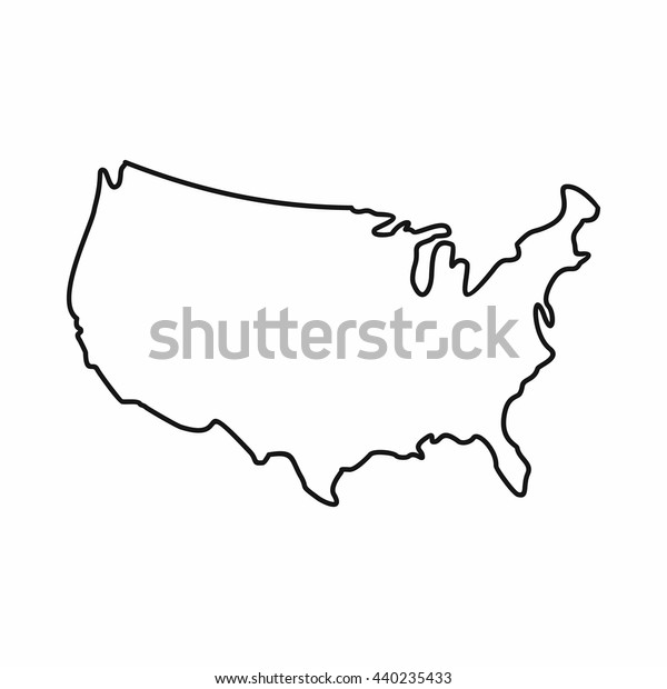 Usa Karte Symbol Umriss Stil Die Stock Vektorgrafik Lizenzfrei