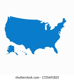 USA map isolated on background. United States of America country. Vector template for website, design, cover, infographics.