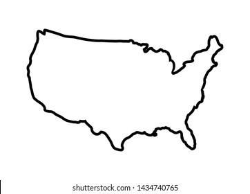 Usa map line vector icon