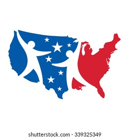 usa map logo vector. us map.
