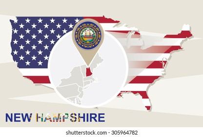 USA map with magnified New Hampshire State. New Hampshire flag and map.
