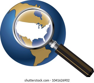 USA Map Magnified on Globe