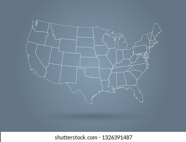 USA map modern outline style grey
