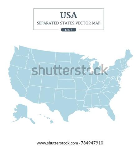 USA Map Mono Color High Detail Stock Vector (Royalty Free) 784947910 ...
