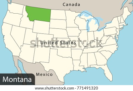 Usa Map Montana Stock Vector Royalty Free 771491320 Shutterstock