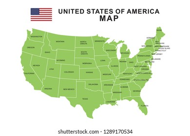 Flat Us Map.United States Map Flat Names Images Stock Photos Vectors