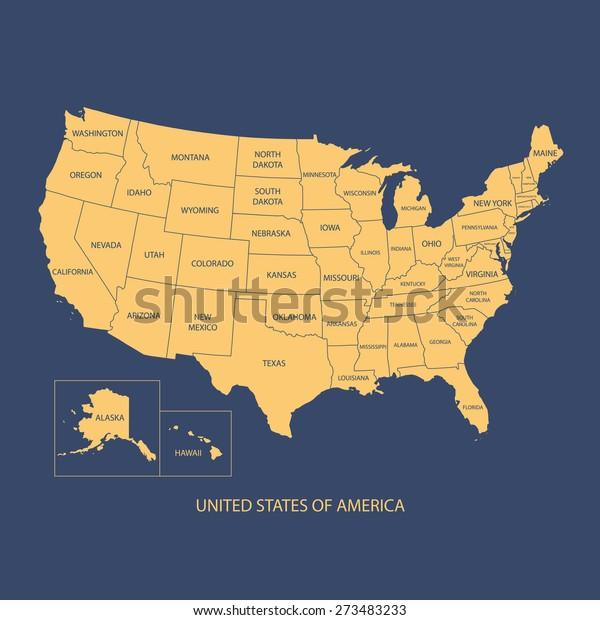 Usa Map Name Countriesunited States America Stock ...