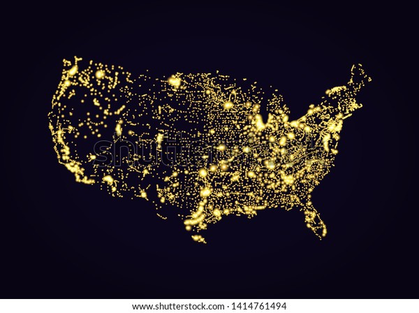 Us Night Light Map Usa Map Night Light Effect Vector Stock Vector (Royalty Free