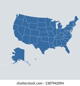 USA map on gray background vector, USA Map Outline Shape Blue on White Vector Illustration, High detailed Gray illustration map USA. Symbol for your web site design map logo. app, ui, eps10.