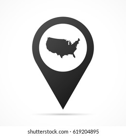 USA Map on location pin. Map pointer isolated on a white background. Conceptual vector illustration.