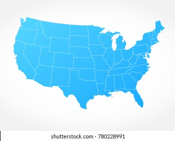 USA map on white background. Vector