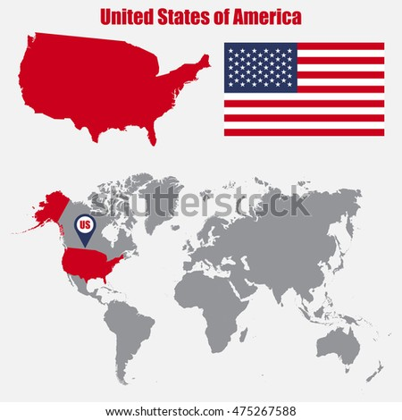USA Map On World Map Flag Stock Vector (Royalty Free) 475267588 ...