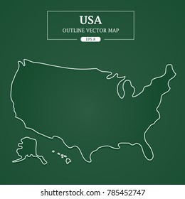 USA Map outline on Green Background Vector Illustration