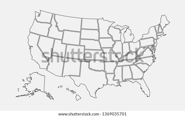 Usa Map Outline United States Vector Stock Vector (Royalty ...