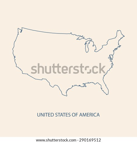 USA Map Outline Vector Stock Vector (Royalty Free) 290169512 ...
