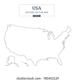 USA Map Outline Vector Illustration