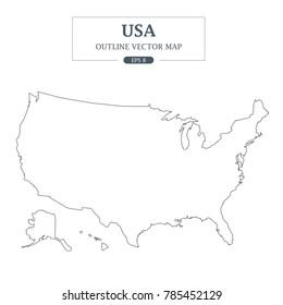 USA Map Outline Vector Illustration