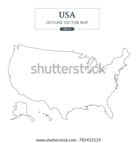USA Map Outline Vector Illustration Stock Vector (Royalty Free ...