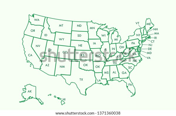 Usa Map Outline Vector State Names Stock Vector (Royalty ...