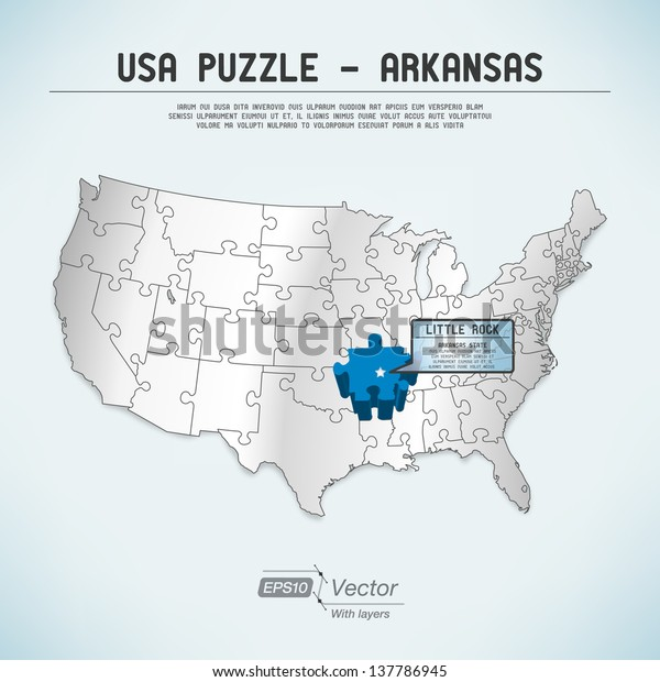 Usa Map Puzzle One Stateone Puzzle Stock Vector (Royalty ...
