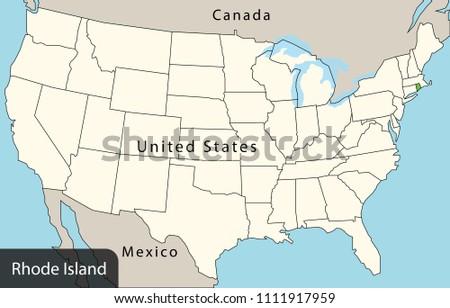 Usa Map Rhode Island Stock Vector (Royalty Free) 1111917959 ...