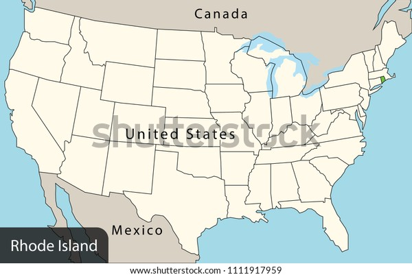 rhode island on the us map Usa Map Rhode Island Stock Vector Royalty Free 1111917959 rhode island on the us map