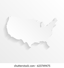 USA Map with shadow. Cut paper isolated on a white background. Vector illustration.