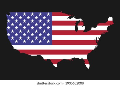 USA map silhouette with flag on black background