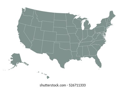 USA map with state boundaries. Blank black contour isolated on white. Vector illustration.