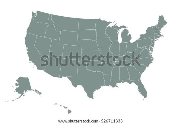 Usa Map State Boundaries Blank Black Stock Vector (Royalty ...
