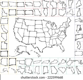 Usa Map With States Black And White.Usa Map States Images Stock Photos Vectors Shutterstock