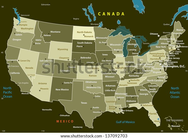 Usa Map States Capital Cities Vector Stock Vector (Royalty ...