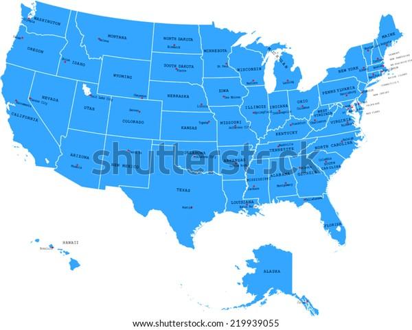 Capital Usa Map on