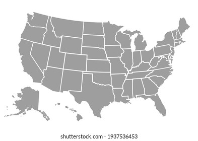 USA map with states isolated on a white background.Vector EPS10