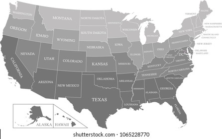 USA map with states labeled gray scale vector outline illustration background. Creative map of United States of America with states names in gray color gradient