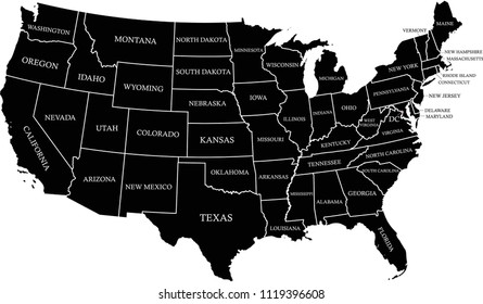 USA map with states labeled vector outline black background