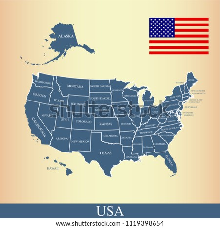 USA Map States Labeled Vector Outline Stock Vector (Royalty Free ...