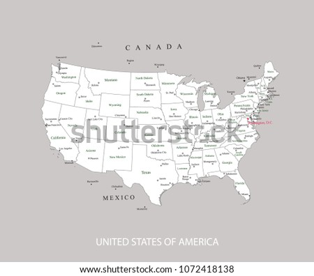 USA Map States Major Cities Capitals Stock Vector (Royalty Free ...