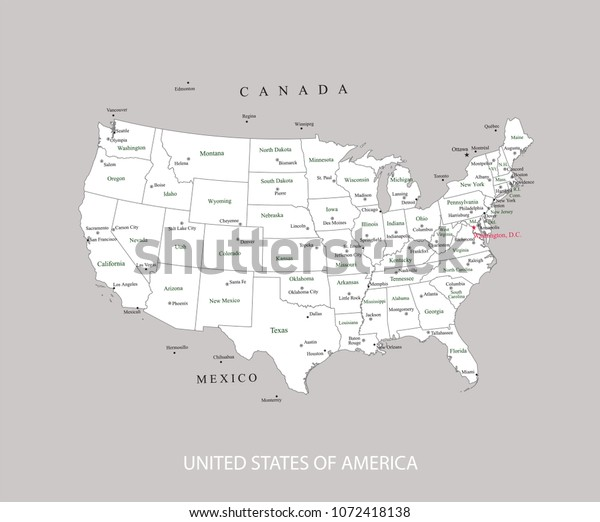 Usa Map States Major Cities Capitals Stock Vector Royalty Free 1072418138