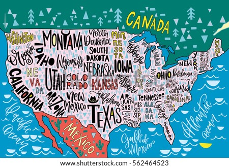 USA Map States Pictorial Geographical Poster Stock Vector (Royalty ...