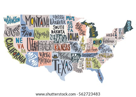 Poster Of Usa Map.Usa Map States Pictorial Geographical Poster Stock Vector Royalty