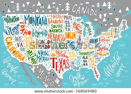usa map states pictorial geographical poster stock vector royalty
